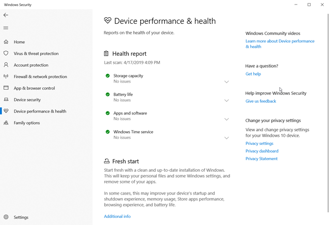 The Windows 10 Health report on a laptop that is working well