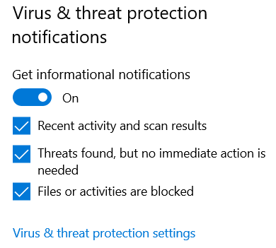 Windows Security - Virus & threat protection notifications