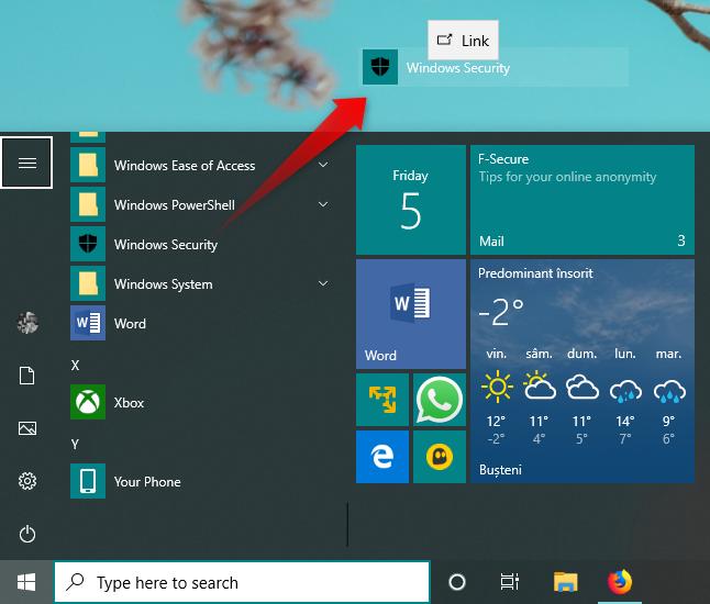 Creating a Windows Security shortcut on the desktop