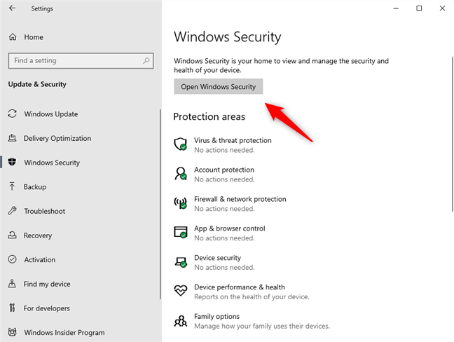 Opening Windows Security from the Windows 10 Settings app