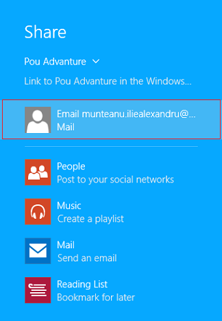 Windows 8.1, apps, games, Store, share, email, link, screenshots, facebook
