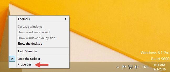 customize, Windows, taskbar, toolbars, properties, auto-hide, lock