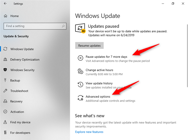 Pausing Windows 10 updates for a while