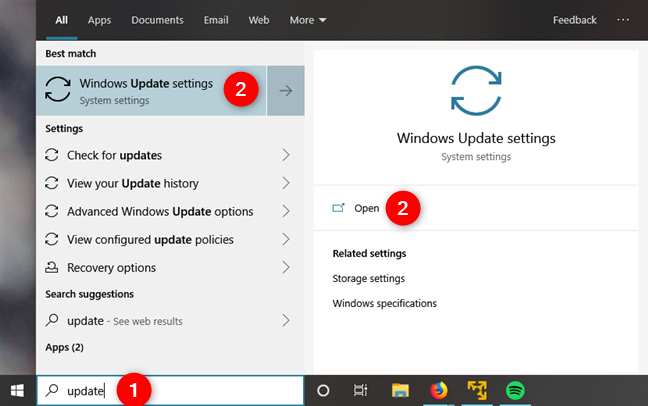 Searching for Windows Update in Windows 10