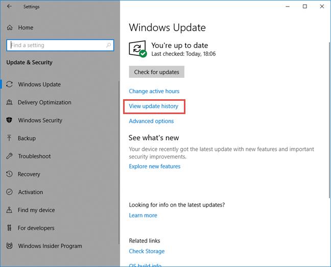 View update history link in Windows Update settings