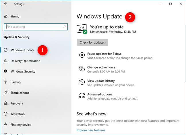 The Windows Update page from Windows 10 Settings
