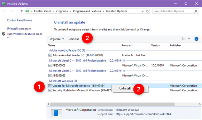 The Installed Updates page from the Control Panel