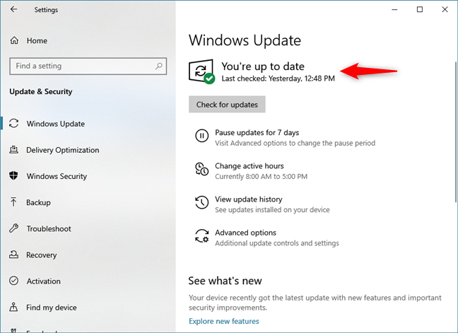 Windows Update saying that you are up to date