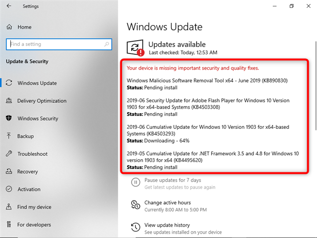 There are updates available for Windows 10