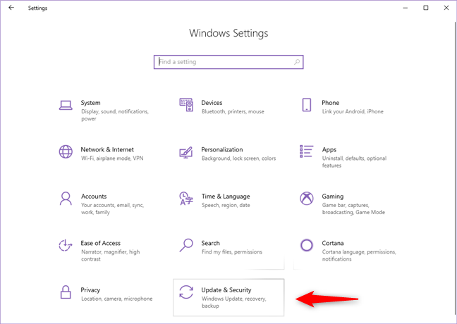 The Update & Security category from the Windows 10 Settings