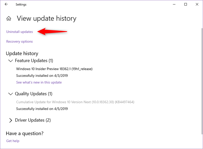 The Uninstall updates link