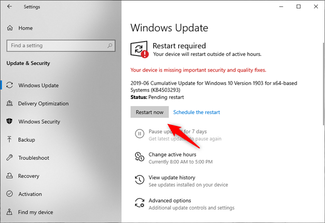 Windows 10 asks to reboot the PC to finish installing the updates