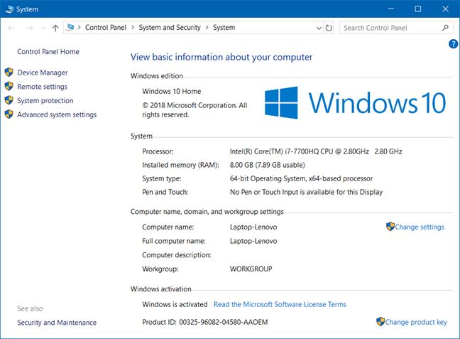 Windows version, winver