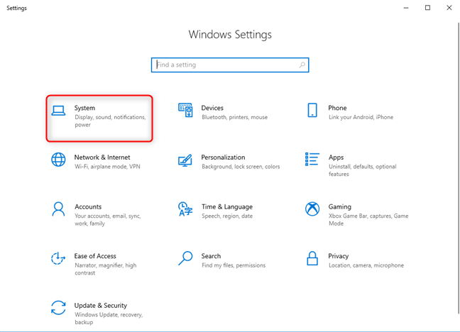 Windows 10 Settings - Go to System