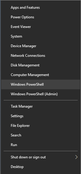 WinX menu, Power User menu, Windows