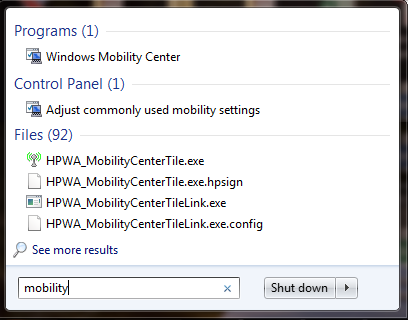 Windows Mobility Center, Windows 7, settings