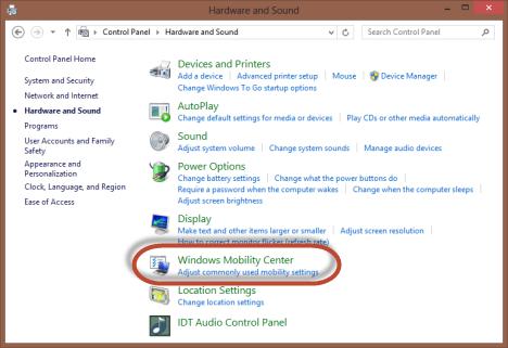 Windows Mobility Center, Windows 7, Windows 8, settings