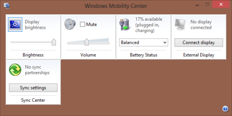 Windows Mobility Center, Windows 8, settings