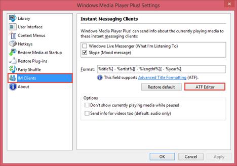 Windows Media Player Plus!, extra, settings