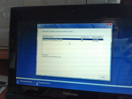 Installing Windows 8 on a Toshiba netbook