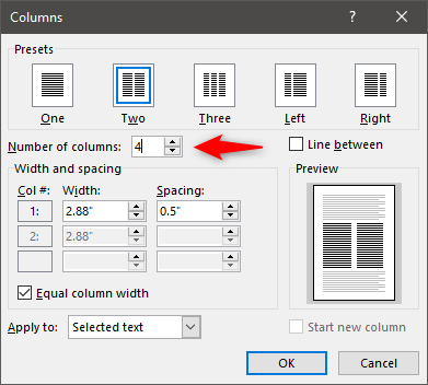 Choosing the Number of columns to create in Word