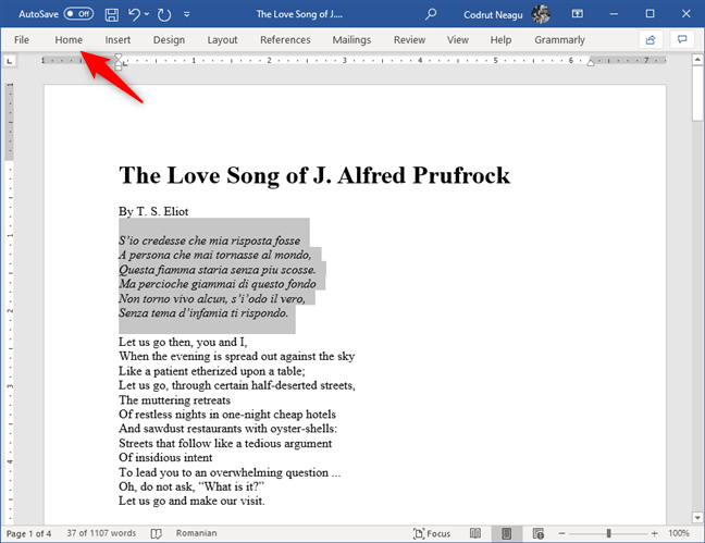 Seleccionar texto y abrir la pestaña Inicio desde Microsoft Word