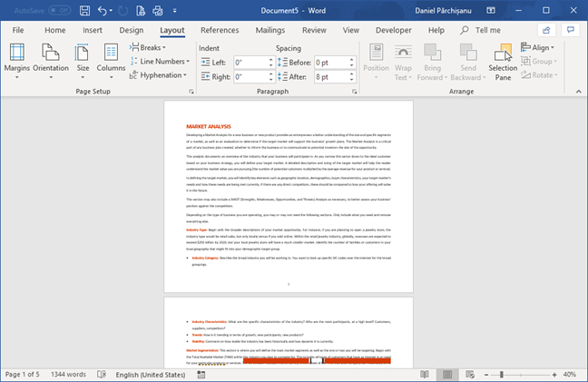 The Landscape orientation in Microsoft Word