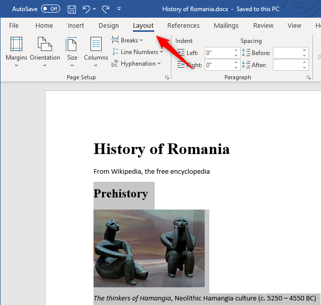 The Layout tab from Microsoft Word