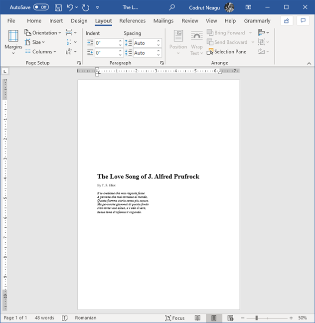 Text that has been vertically centered on the page in Microsoft Word