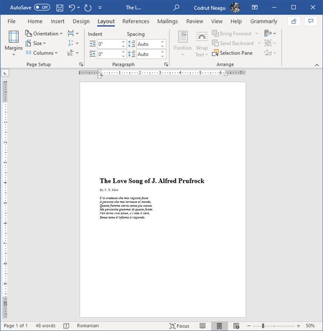 Texto que se ha centrado verticalmente en la página en Microsoft Word