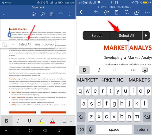 Select All in Microsoft Word for Android and iOS