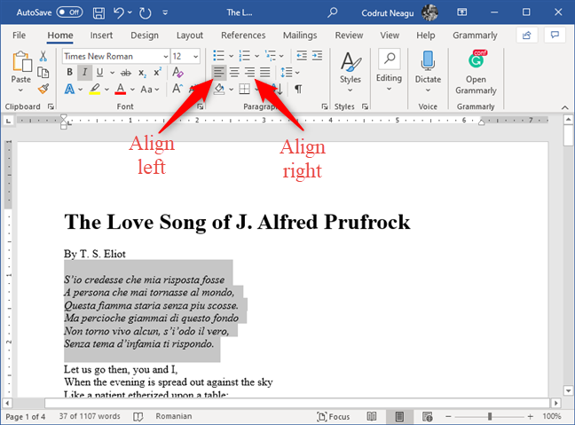 The Align Left and Align Right buttons from Microsoft Word