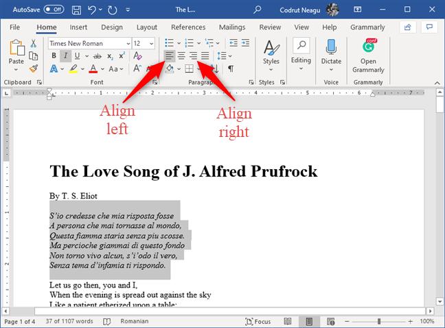Los botones Alinear a la izquierda y Alinear a la derecha de Microsoft Word