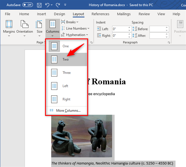 Creating two columns in a Word document