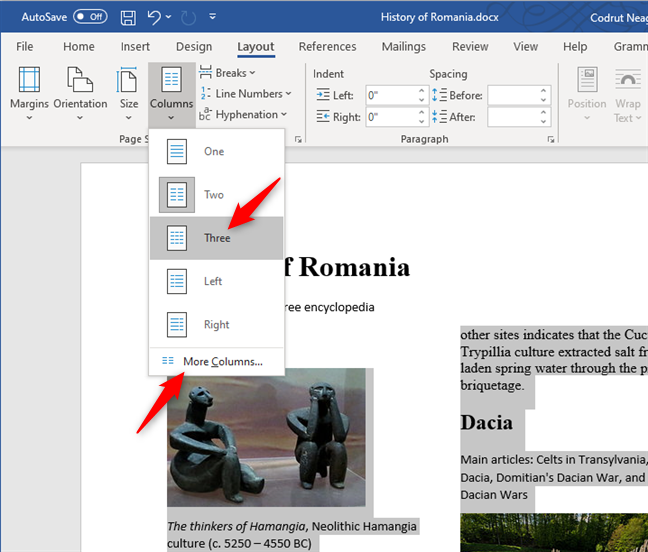 Creating three columns, or more, in a Word document