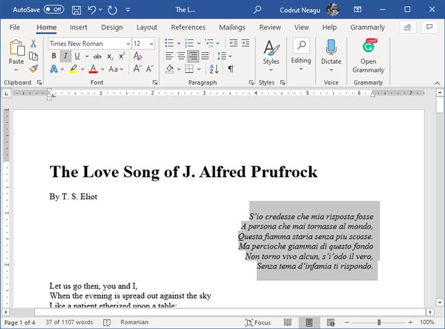 Texto que se ha alineado a la derecha en Microsoft Word