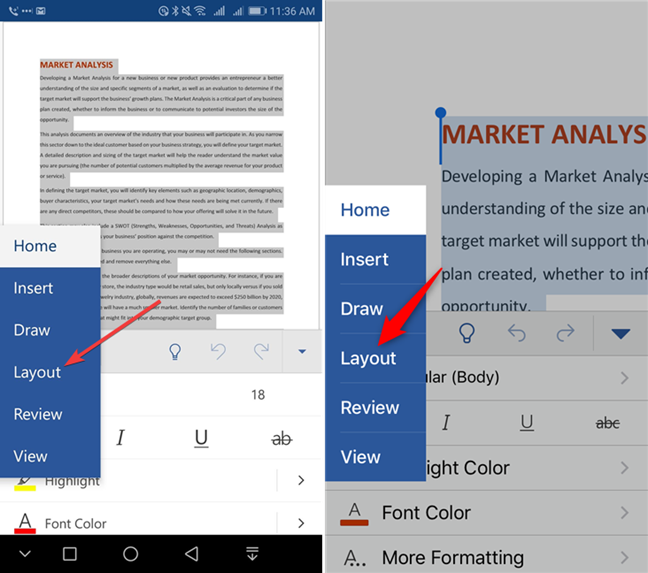 Tap Layout in Microsoft Word for mobile