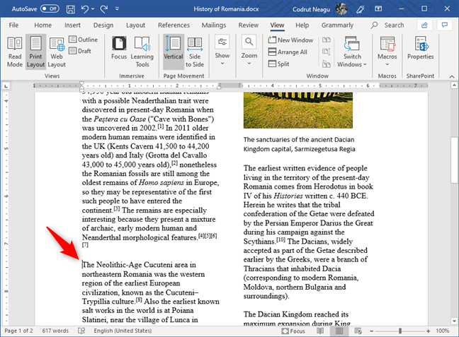 Choosing where a new column begins in Word
