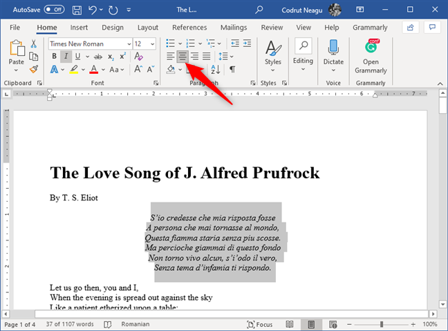The Center button from the Paragraph section in Microsoft Word