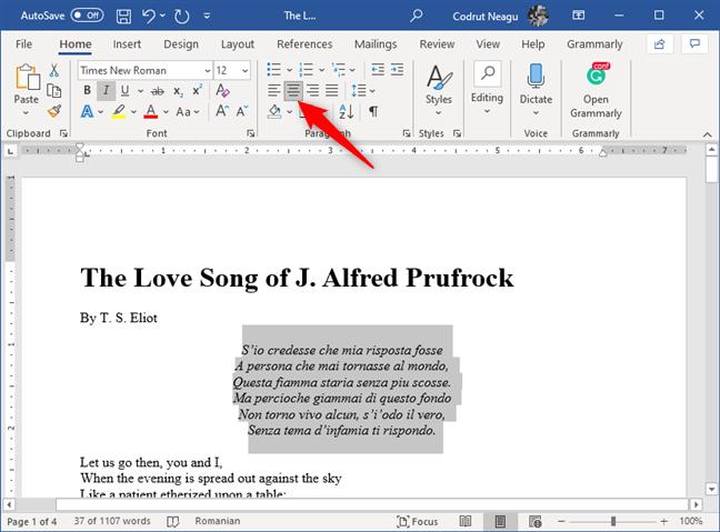 El botón Centro de la sección Párrafo en Microsoft Word