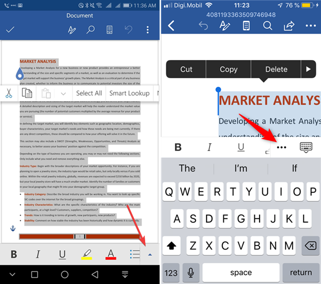 Open the menu in Microsoft Word for Android and iOS