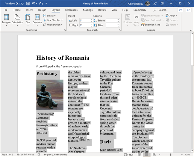 Text from a Word document, split into four columns