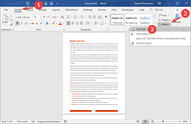 Select All in Microsoft Word