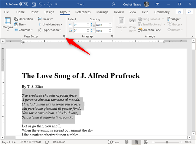 The Dialog Box Launcher button from the Page Setup section in Word