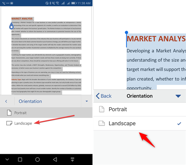 Select Landscape in Microsoft Word for mobile