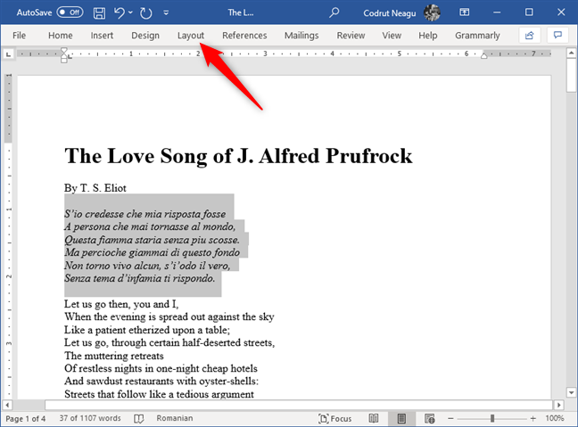 Selecting text and opening the Layout tab from Microsoft Word