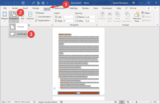 Select the Landscape orientation in Microsoft Word