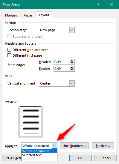 Choosing to apply the alignment to the Whole document or only to the Selected text