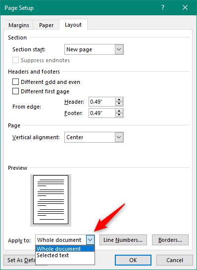 Elegir aplicar la alineación a todo el documento o solo al texto seleccionado