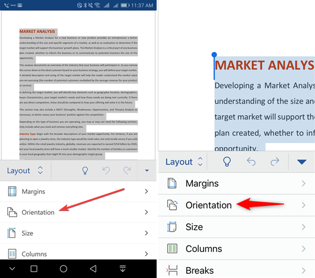 Select Orientation in Microsoft Word for mobile